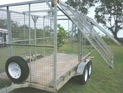 GALVANISED Trailer, dual axle, mesh sides, left side gates open out, rear loading gate, approx 12...