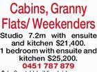 Cabins, Granny Flats/  Weekenders