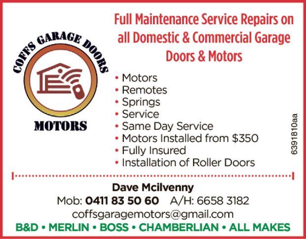 Full Maintenance Service Repairs on all Domestic & Commercial Garage Doors & Motors   ...