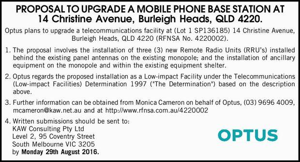 14 Christine Avenue, Burleigh Heads, QLD 4220. Optus plans to upgrade a telecommunications facili...