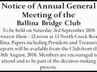 Notice of Annual General Meeting of the Ballina Bridge Club