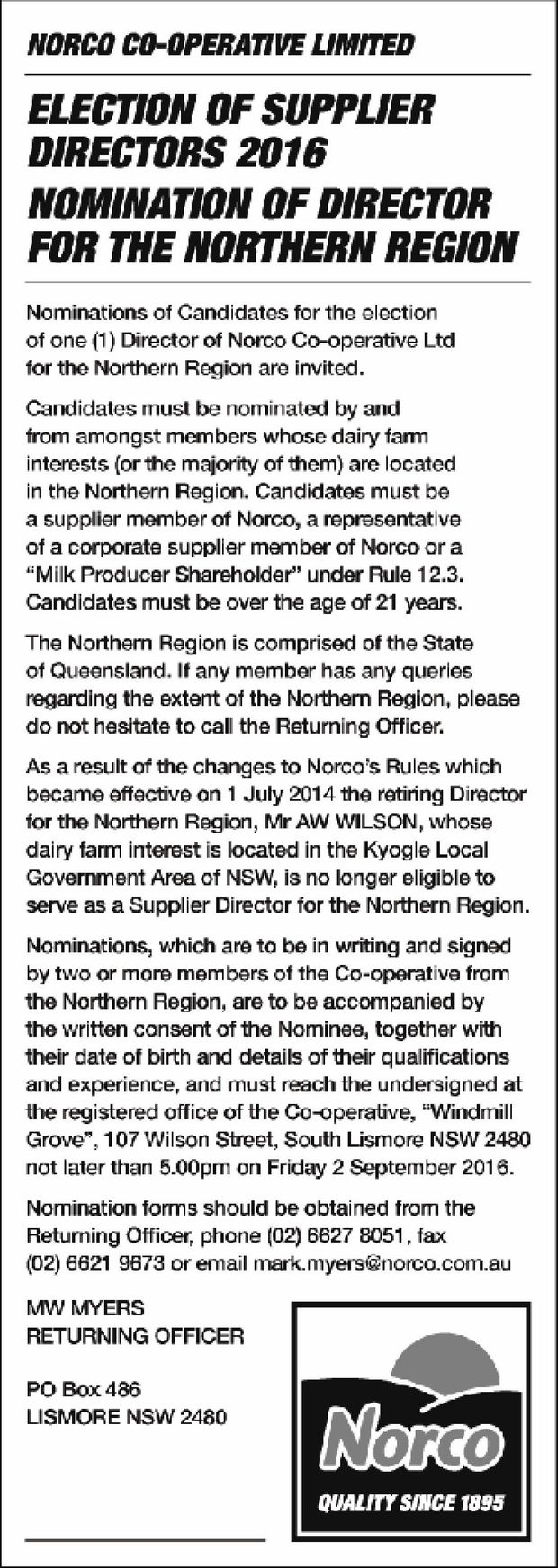 NORCO CO-OPERATIVE LIMITED