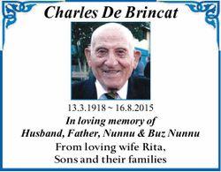 Charles De Brincat 13.3.1918 ~ 16.8.2015 In loving memory of Husband, Father, Nunnu & Buz Nun...
