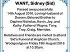 WANT, Sidney (Sid)