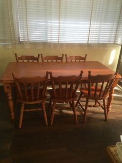 Dining table, 6 chairs. (would seat 8)  few minor marks pick up only