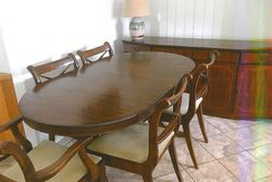 """DINING table suite & matching buffet in reprod mahogony wood, table 5ftx35""""x30"""" ext..."""