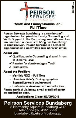 6413791aa Youth and Family Counsellor - Full Time Person Services Bundaberg is a non-for profit orga...