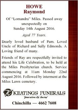 "HOWE Raymond Of ""Lomandra"" Miles. Passed away unexpectedly on Sunday 14th August 2016. Age..."