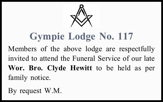 Members of the above lodge are respectfully invited to attend the Funeral Service of our late Wor...