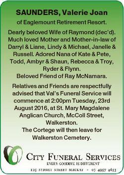 SAUNDERS, Valerie Joan of Eaglemount Retirement Resort. Dearly beloved Wife of Raymond (dec'd)....