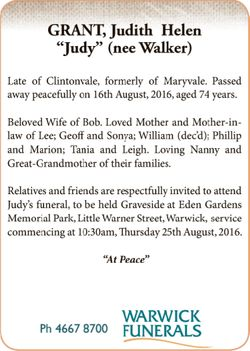 Late of Clintonvale, formerly of Maryvale. Passed away peacefully on 16th August, 2016, aged 74 y...