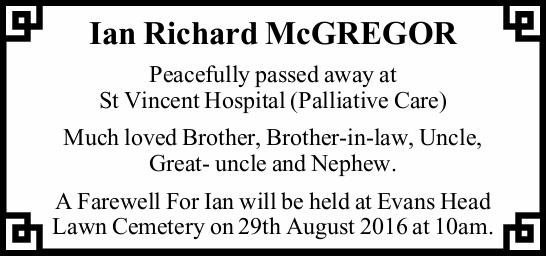 Peacefully passed away at St Vincent Hospital (Palliative Care) Much loved Brother, Brother...