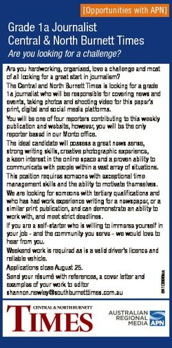[Opportunities with APN] Grade 1a Journalist Central & North Burnett Times Are you looking for a...