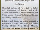 D A V I D S O N, Noel Burnand Late of Ubobo, Murgon, passed away peacefully Thursday 18th August 2016. Aged 96 years Cherished husband of Faye. Beloved father and father-in-law of Barbara and Cyril, Valerie, Noelle and Lee, Shirley and Brett, and Owen. Loving `Grandad' to his grandchildren ...