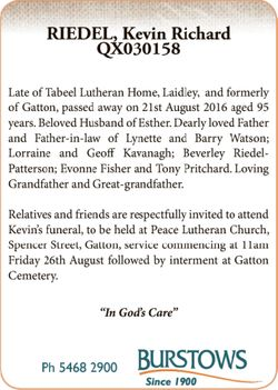 QX030158   Late of Tabeel Lutheran Home, Laidley, and formerly of Gatton, passed away on 21st...
