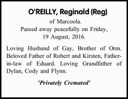 of Marcoola. Passed away peacefully on Friday, 19 August, 2016. Loving Husband of Gay, Brother of...