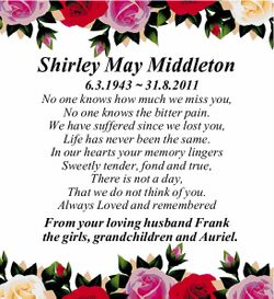 Shirley May Middleton 6.3.1943 ~ 31.8.2011 No one knows how much we miss you, No one knows the bi...