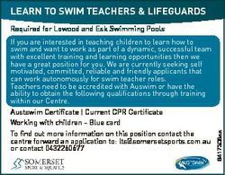 LEARN TO SWIM TEACHERS & LIFEGUARDS If you are interested in teaching children to learn how to s...