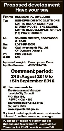 Proposed development Have your say From: To: RESIDENTIAL DWELLING SUB-DIVISION INTO 2 LOTS ONE LOT T...