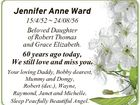 Jennifer Anne Ward 15/4/52  24/08/56 Beloved Daughter of Robert Thomas and Grace Elizabeth. 60 years ago today, We still love and miss you. Your loving Daddy, Bobby dearest, Mummy and Dongy, Robert (dec.), Wayne, Raymond, Janet and Michelle. Sleep Peacfully Beautiful Angel.