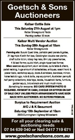 Goetsch & Sons Auctioneers Kalbar Cattle Sale This Saturday 27th August at 1pm Kalbar Showground...
