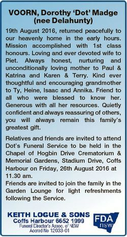 VOORN, Dorothy `Dot' Madge (nee Delahunty) 19th August 2016, returned peacefully to our heavenly...