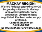 MACKAY REGION: Wanted for lease approximately 20 ha