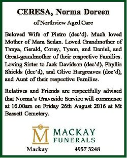 CERESA, Norma Doreen of Northview Aged Care Beloved Wife of Pietro (dec'd). Much loved Mother of...