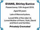 EVANS, Shirley Eunice