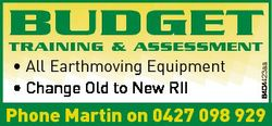 BUDGET * All Earthmoving Equipment * Change Old to New RII 6404423aa TRAINING & ASSESSMENT Phone...