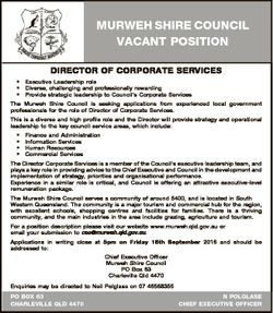 MURWEH SHIRE COUNCIL VACANT POSITION DIRECTOR OF CORPORATE SERVICES * Executive Leadership role * Di...