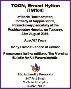 TOON, Ernest Hylton (Hylton) of North Rockhampton, formerly of Keppel Sands, Passed away peacefully...