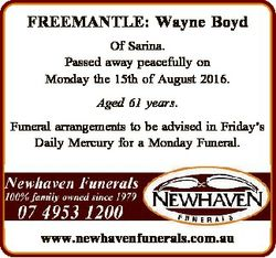 FREEMANTLE: Wayne Boyd Of Sarina. Passed away peacefully on Monday the 15th of August 2016. Aged 61...