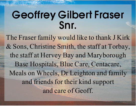 Geoffrey Gilbert Fraser Snr.