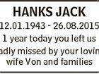 HANKS JACK 12.01.1943 - 26.08.2015 1 year today you left us Sadly missed by your loving wife Von and families