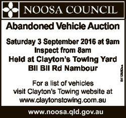 Saturday 3 September 2016 at 9am Inspect from 8am Held at Clayton's Towing Yard Bli Bli Rd Nambo...