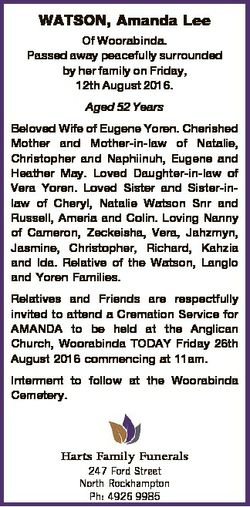WATSON, Amanda Lee Of Woorabinda. Passed away peacefully surrounded by her family on Friday, 12th Au...