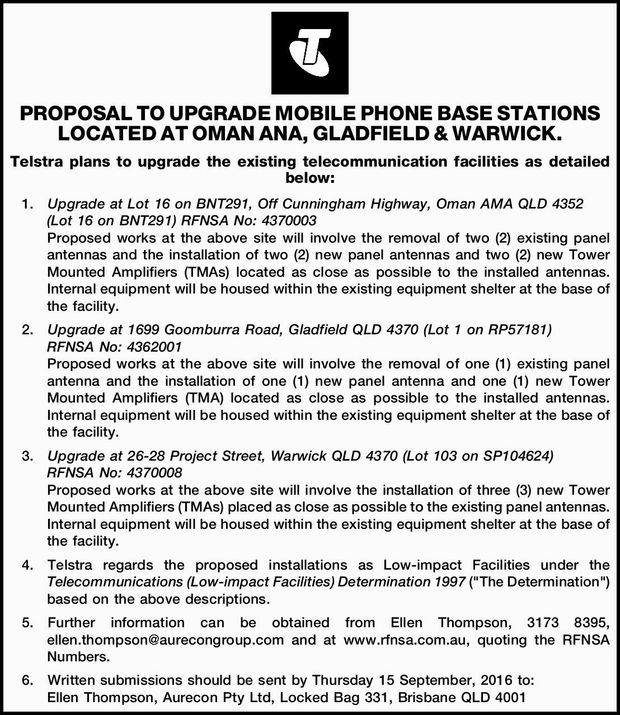 Telstra plans to upgrade the existing telecommunication facilities as detailed below: 1.Upgrade a...