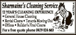 12 YEAR'S CLEANING EXPERIENCE * General House Cleaning * Rental Cleans * Tenants Moving Out * Of...