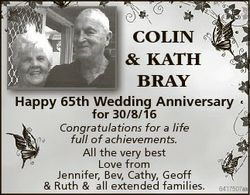 COLIN & KATH BRAY Happy 65th Wedding Anniversary for 30/8/16 Congratulations for a life full of...