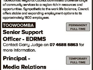 JOBS AT council Toowoomba Regional Council administers a diverse range of community services to a region rich in resources and opportunities. Sympathetic to the work life balance, Council offers stable and expanding employment options to its approximately 1800 employees. TOOWOOMBA Senior Support Officer - EDRMS PERMANENT FULL-TIME Contact Garry Judge on ...