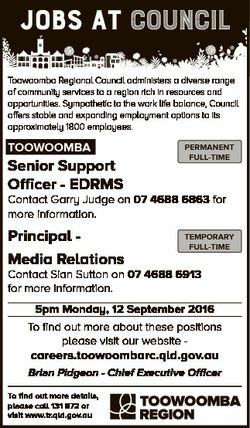 JOBS AT council Toowoomba Regional Council administers a diverse range of community services to a re...