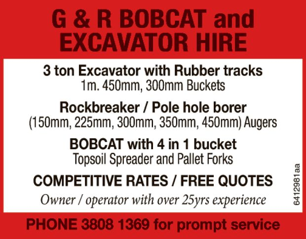 G & R BOBCAT and EXCAVATOR HIRE