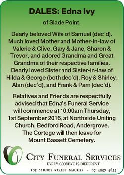 DALES: Edna Ivy of Slade Point. Dearly beloved Wife of Samuel (dec'd). Much loved Mother and Mot...