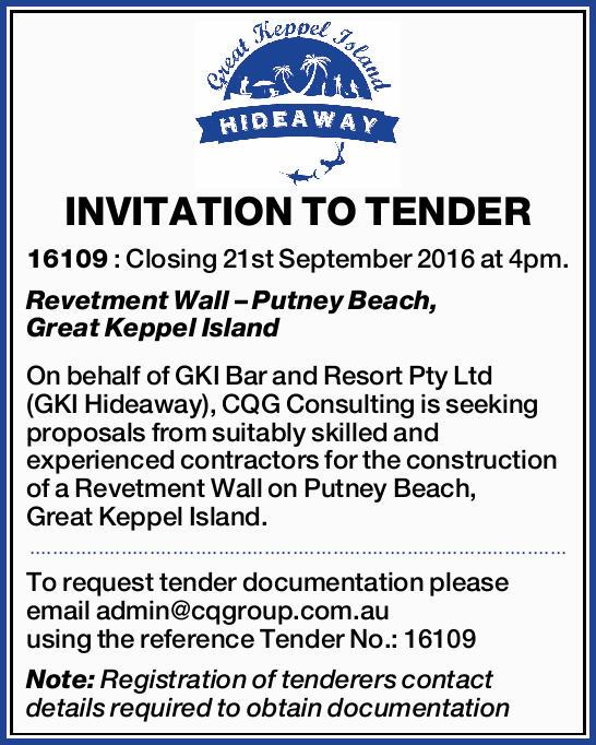 INVITATION TO TENDER   16109 : Closing 21st September 2016 at 4pm.   Revetment Wall &ndas...