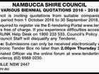 NAMBUCCA SHIRE COUNCIL VARIOUS BIENNIAL QUOTATIONS