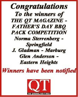 Congratulations To the winners of THE QT MAGAZINE FATHER'S DAY BBQ PACK COMPETITION Norma Sterre...