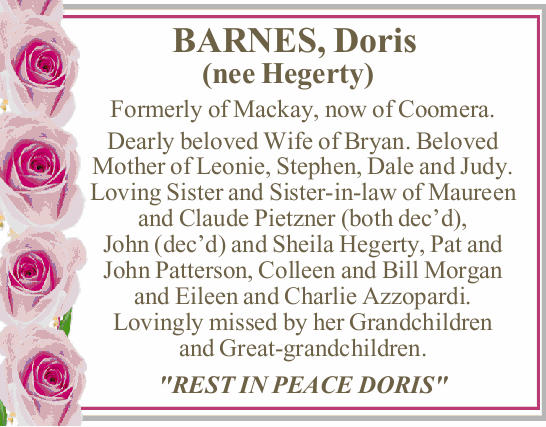 BARNES, Doris (nee Hegerty) 