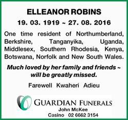19. 03. 1919 ~ 27. 08. 2016   One time resident of Northumberland, Berkshire, Tanganyik...
