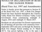 NSW RURAL FIRE SERVICE CLARENCE VALLEY DISTRICT NOTICE OF DECLARATION OF BUSH FIRE DANGER PERIOD